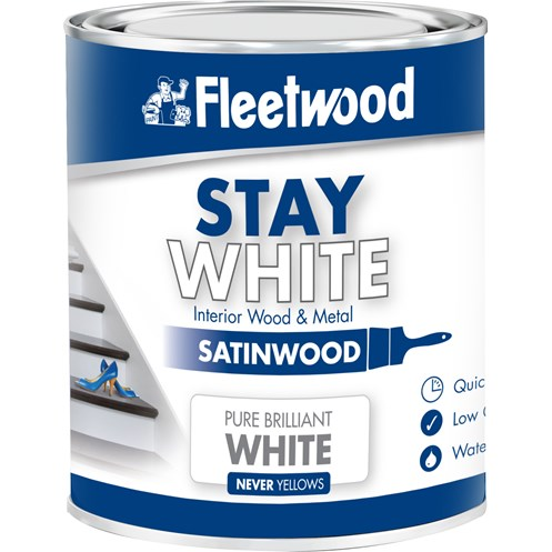 Fleetwood Stay White Satinwood Pure White Paint - 750ml