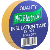 Quality PVC Insulating Tape Yellow  - 19mm x 20m