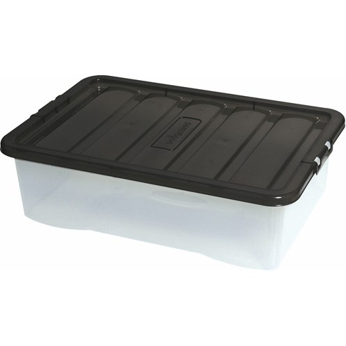 Wham  Fusion Underbed Clear Storage Box & Black Lid - 32 Litre