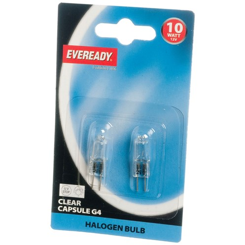 Eveready  Halogen Capsule Light Bulb 10W G4 - 2 Pack