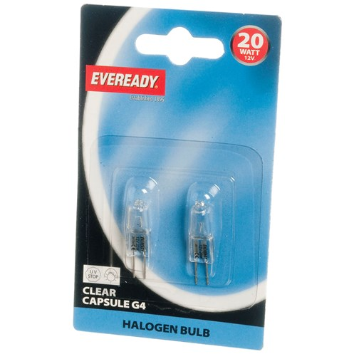 Eveready  Halogen Capsule Light Bulb 20W G4 - 2 Pack