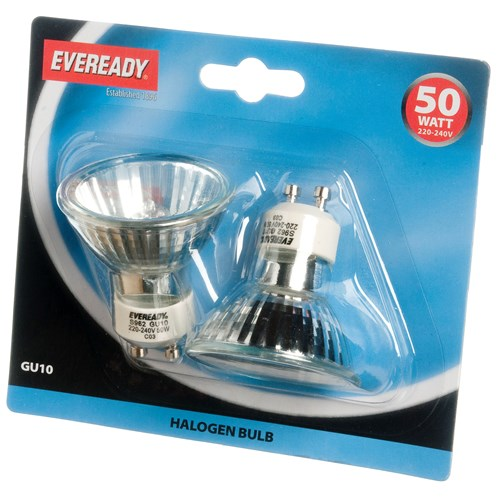 Eveready  Halogen Light Bulb 50W GU10 - 2 Pack