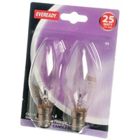 Eveready  Incandescent Clear Candle Light Bulb 25W SBC - 2 Pack