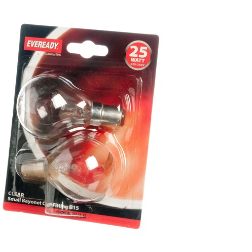 Eveready  Incandescent Clear Golf Ball Light Bulb 25W SBC - 2 Pack
