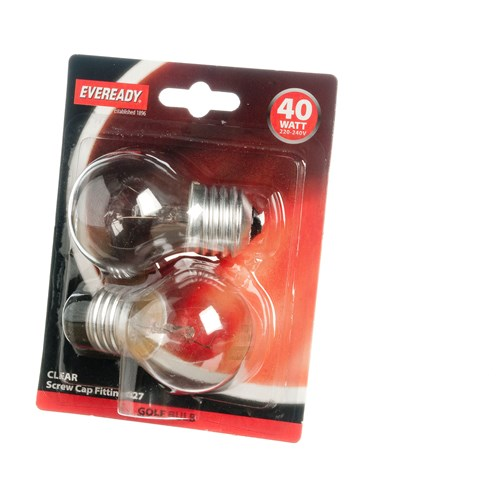 Eveready  Incandescent Clear Golf Ball Light Bulb 40W ES - 2 Pack
