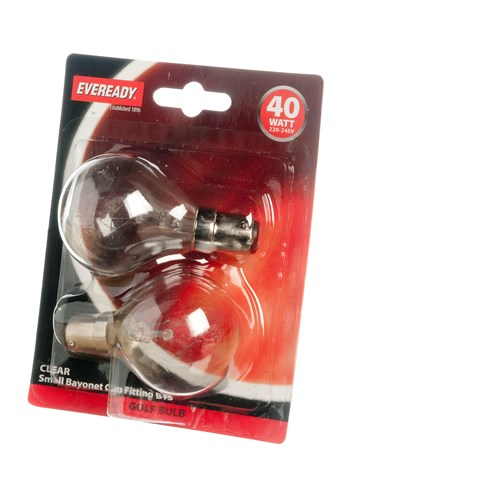 Eveready  Incandescent Clear Golf Ball Light Bulb 40W SBC - 2 Pack