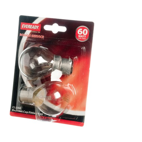 Eveready  Incandescent RS Clear Golf Ball Light Bulb 60W BC - 2 Pack