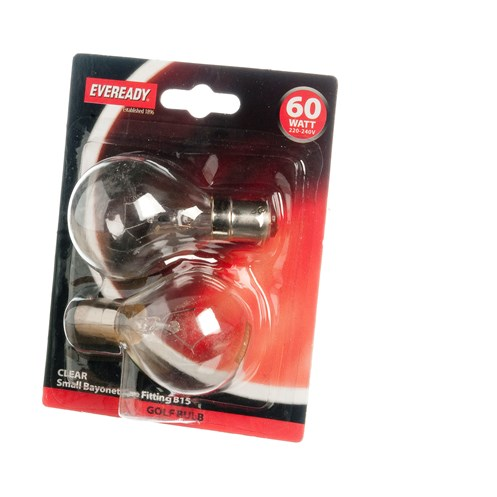 Eveready  Incandescent Clear Golf Ball Light Bulb 60W SBC - 2 Pack
