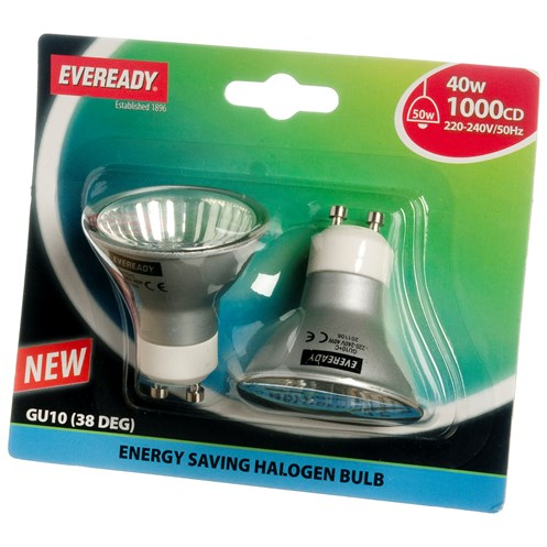 Eveready  Eco Halogen Light Bulb 40W GU10 - 2 Pack