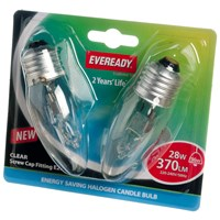 Eveready  Eco Halogen Candle Light Bulb 28W ES - 2 Pack