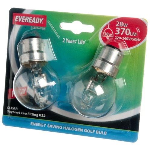 Eveready  Eco Halogen Golf Light Bulb 28W BC - 2 Pack
