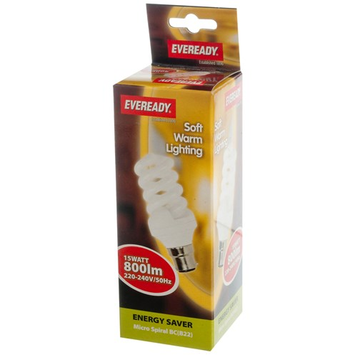 Eveready  CFL Spiral Soft Lite Light Bulb - 15W BC