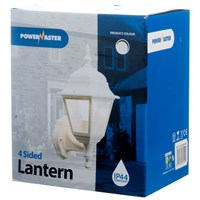 Powermaster  4 Sided Wall Lantern White - 60W