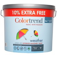 Colortrend  Weather Exterior Masonry Paint Pure Brilliant White - 10 Litre + 10% Extra Free